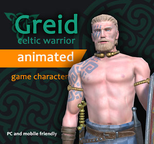 celtic warrior character greid 3d model