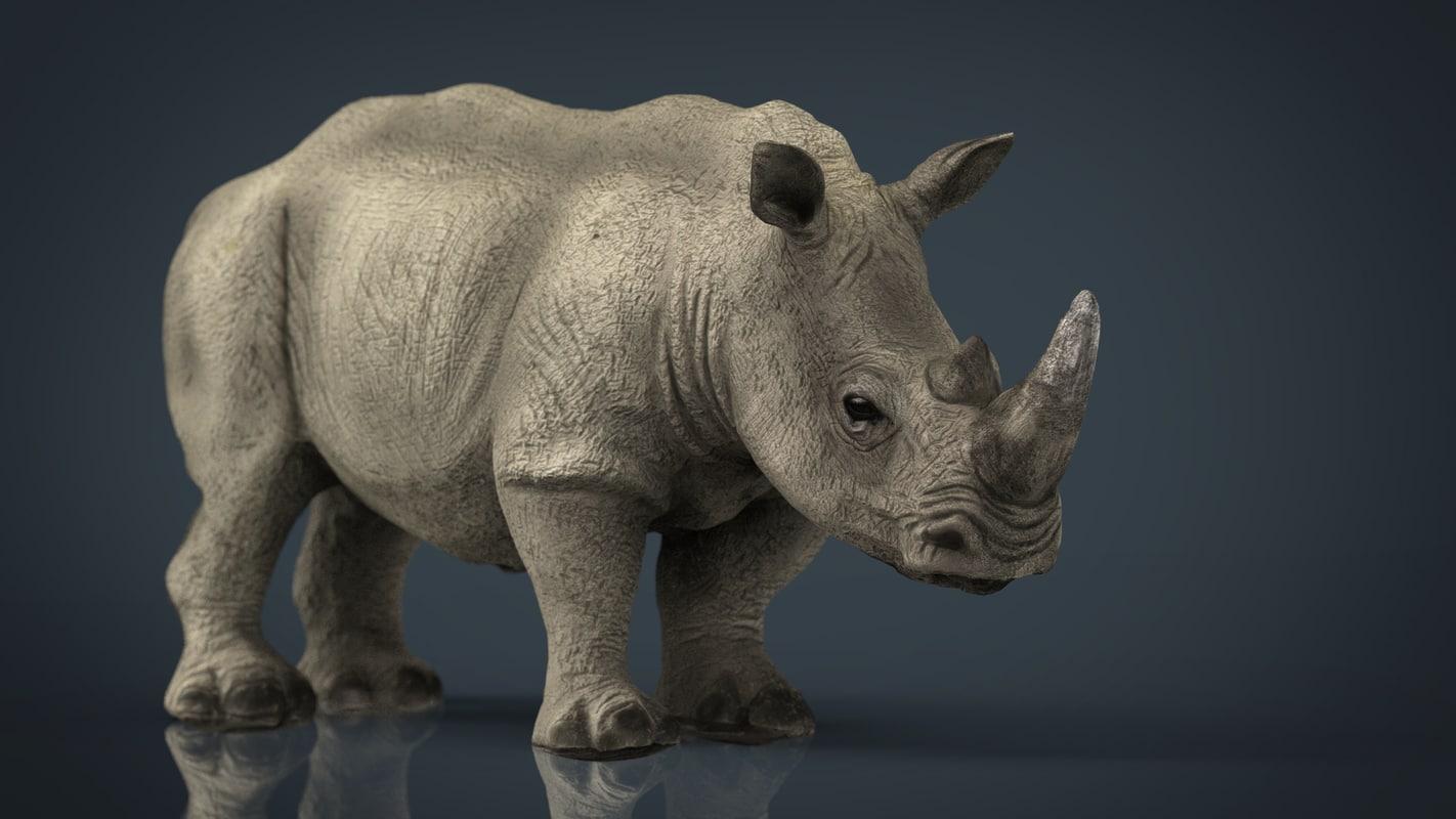 white rhinoceros 3d model