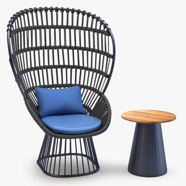 3d obj kettal cala armchair table