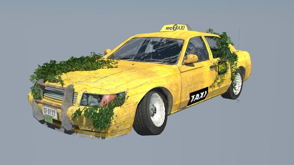new york taxi destroyed 3d model