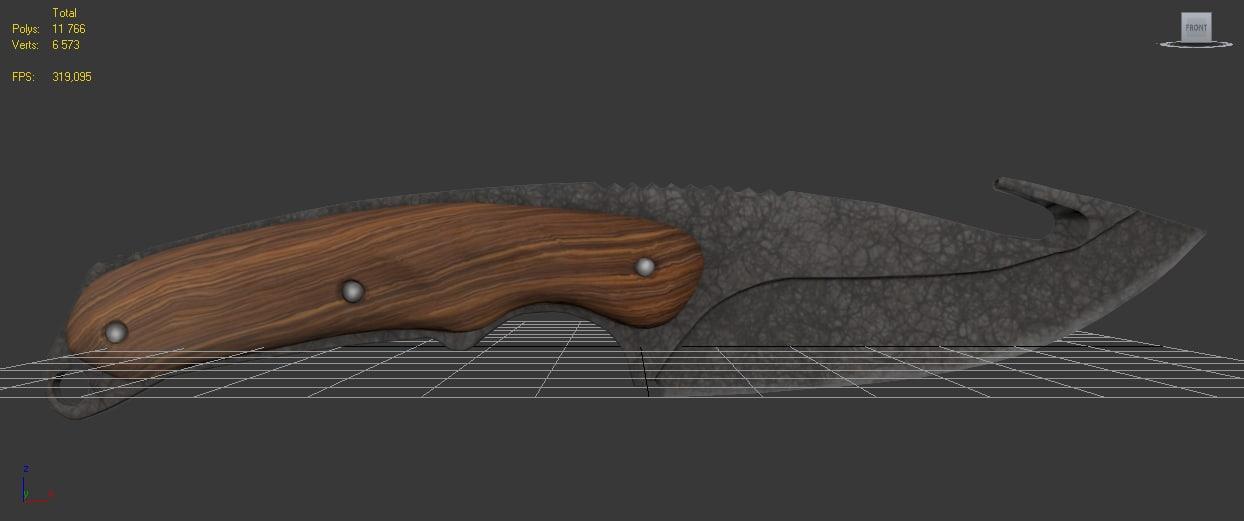 3d model knife hook blade