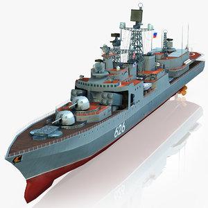 3d model udaloy class destroyer russian