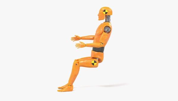 3d model crash test dummy sitting