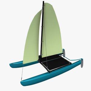 3d model hobie catamaran sailboat
