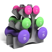 neoprene dumbbell set 3d model