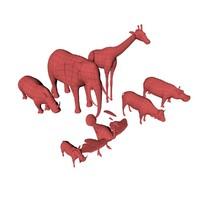 african animals base mesh c4d