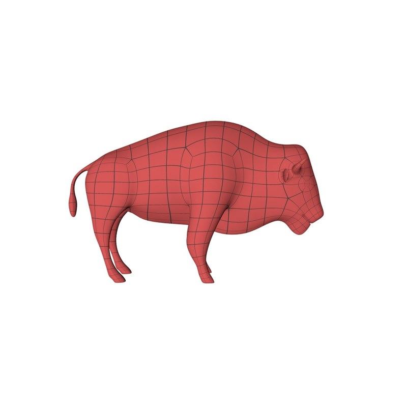 3d base mesh bison model