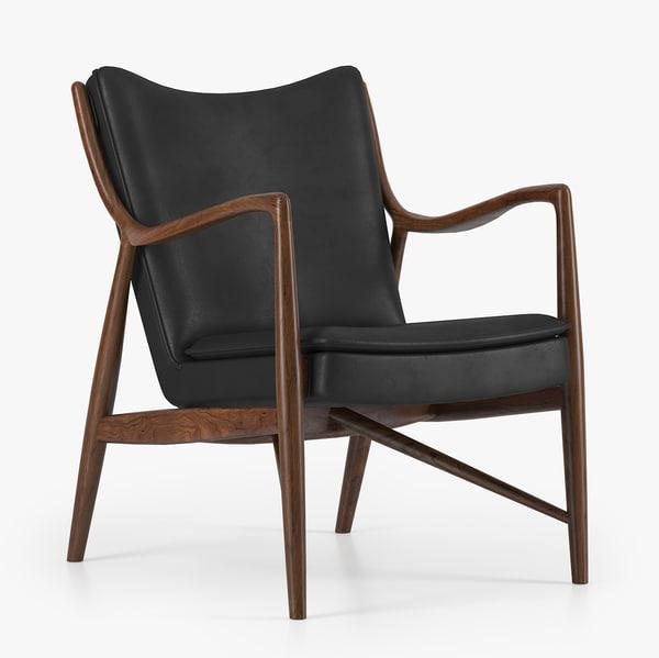 45 armchair finn juhl 3d model