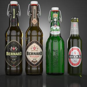 3d beer bottles s model