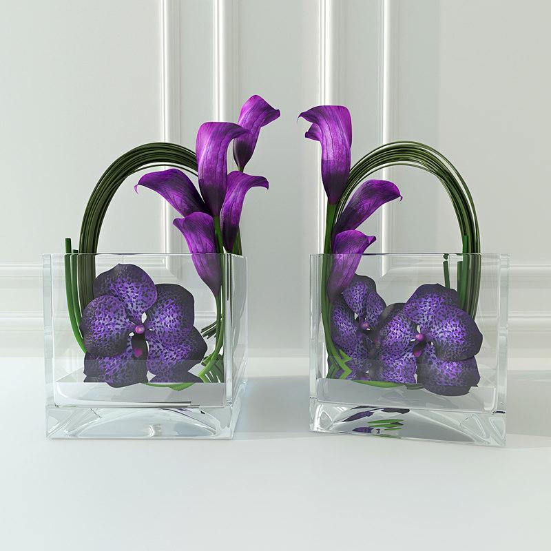orchid calla lilies 3d dwg