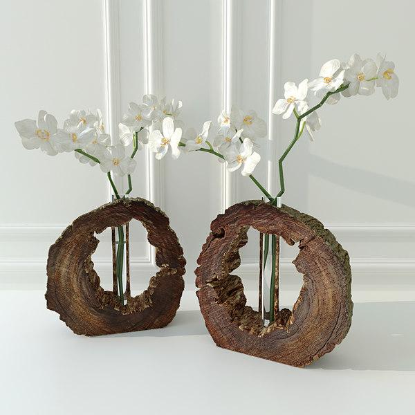 3d orchid decorative vase model