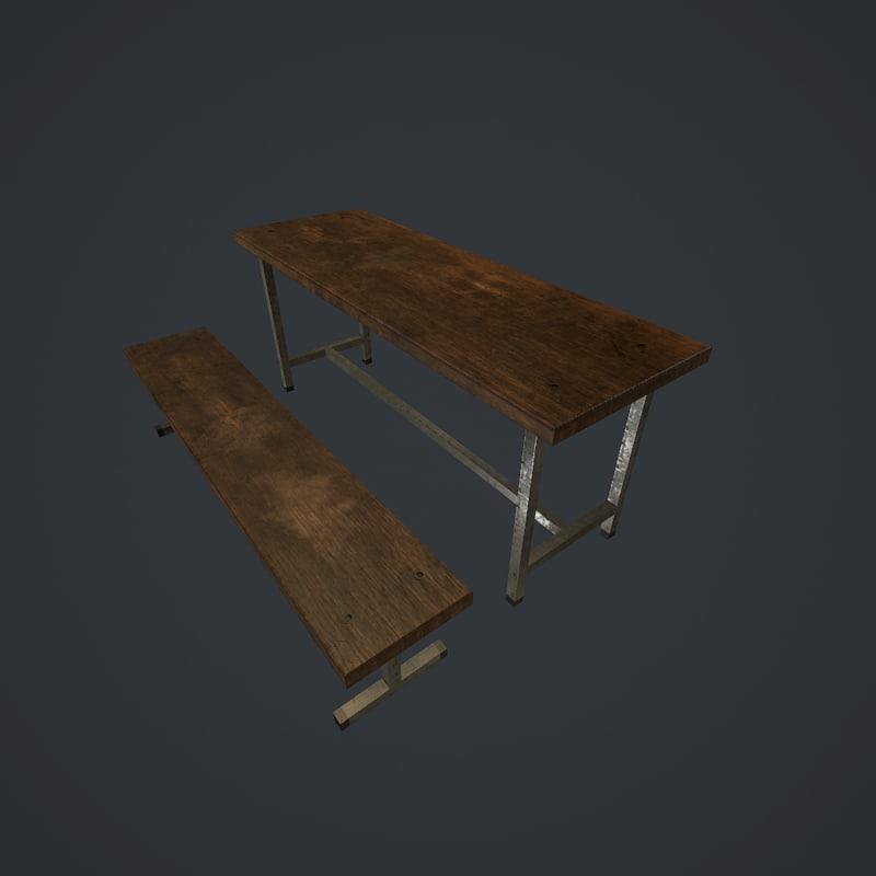 3d bench old pbr model