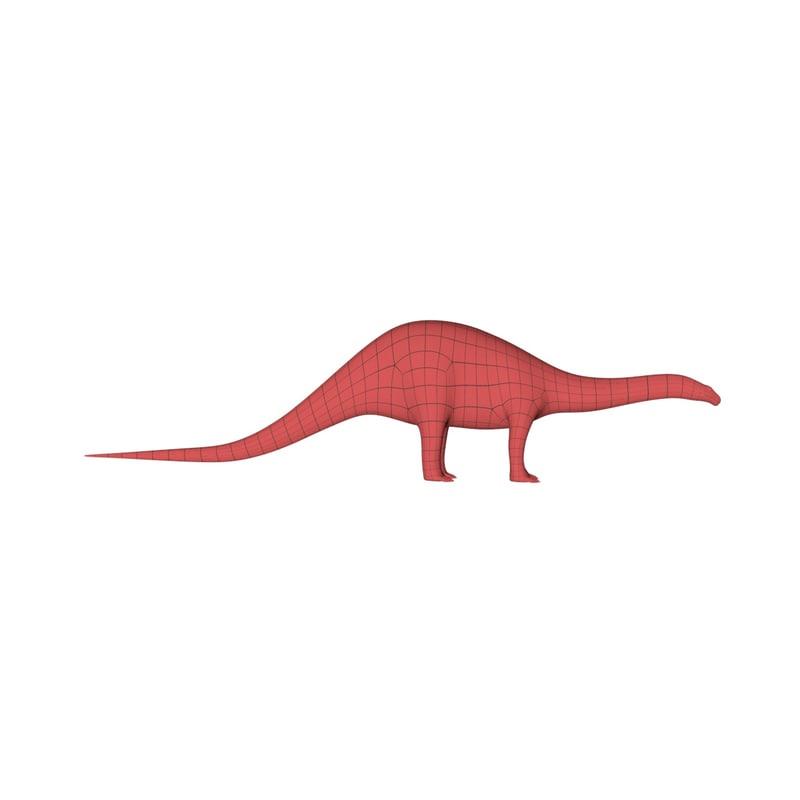 3d base mesh brontosaurus model