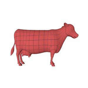 base mesh cartoon cow 3d model