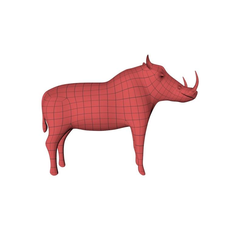 3d base mesh bush pig model
