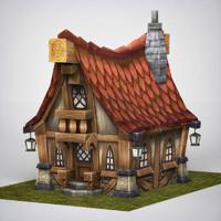 3d fantasy wooden home