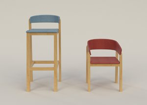 3d model big small stools