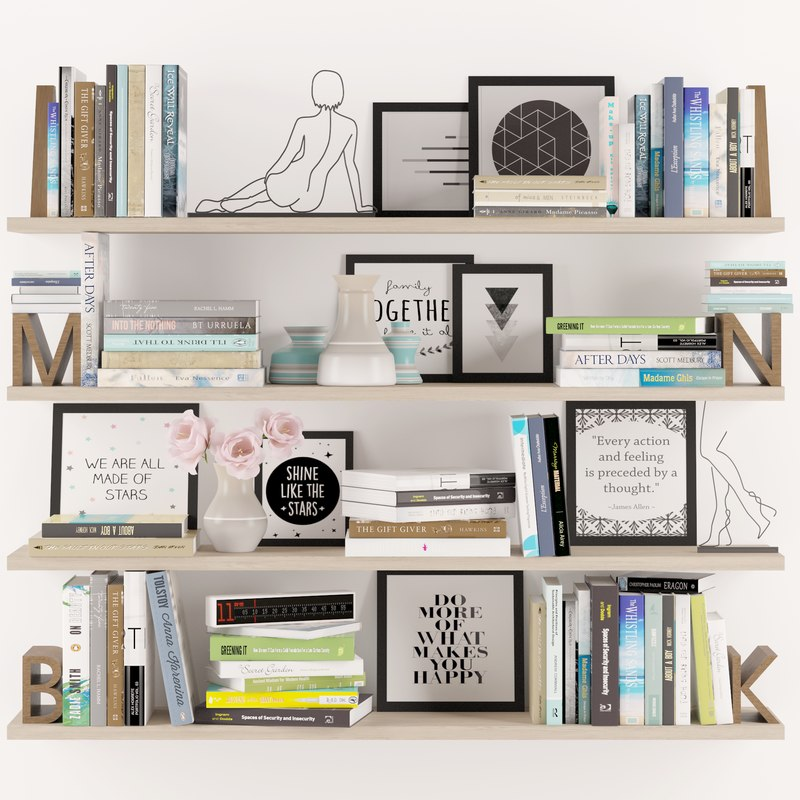 max bookshelf decoration set