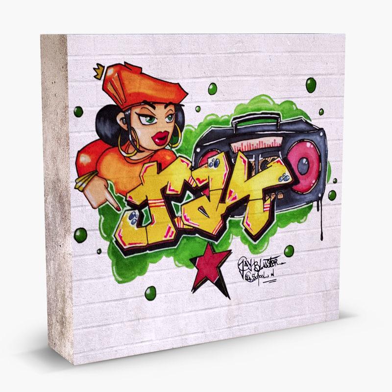 graffiti wall 3d obj