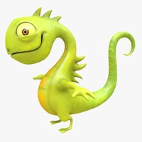 iguana cartoon character 3d obj