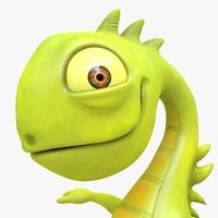 iguana cartoon character 3d x