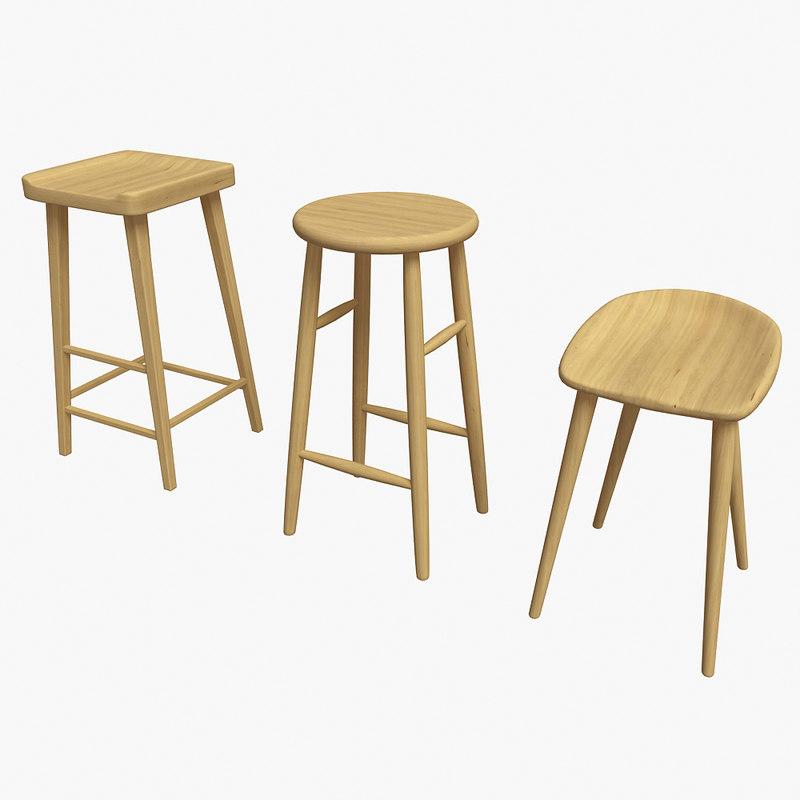 bar chair wood 3d model