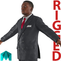 businessman african american rigged 3d ma