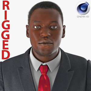 businessman african american rigged 3d c4d