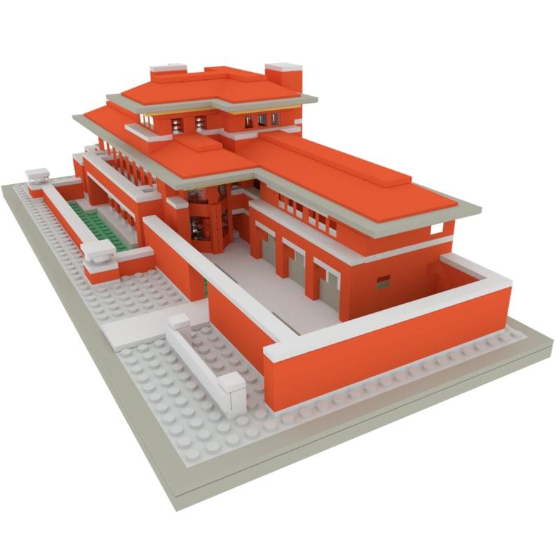 lego robie house 3d 3ds