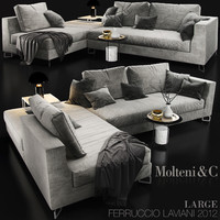 sofa molteni large 3d model