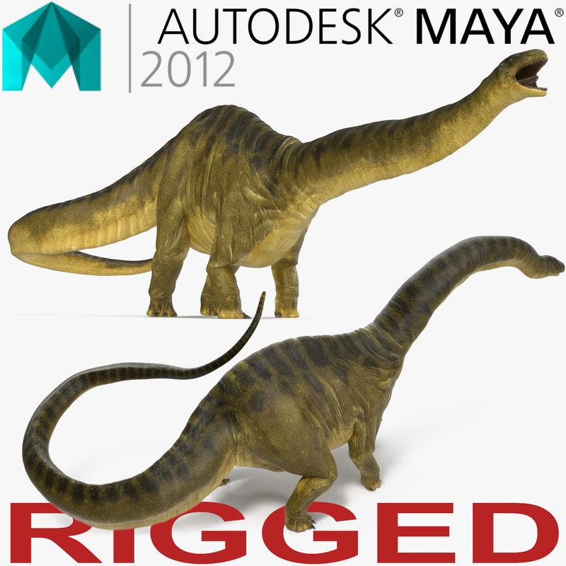 3d apatosaurus dinosaur rigged