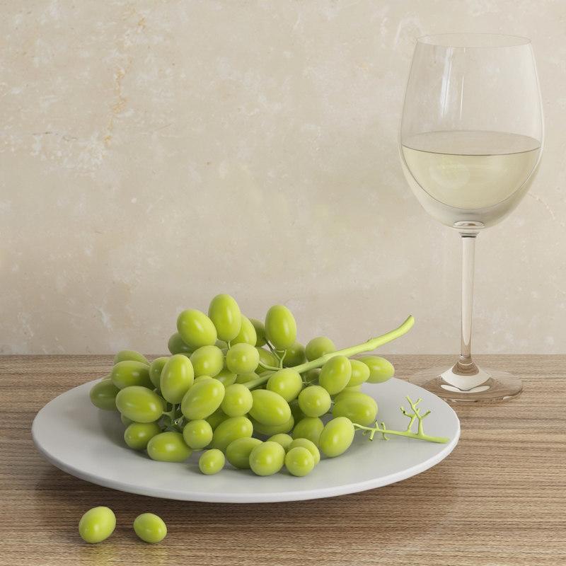 3d glass grape white model