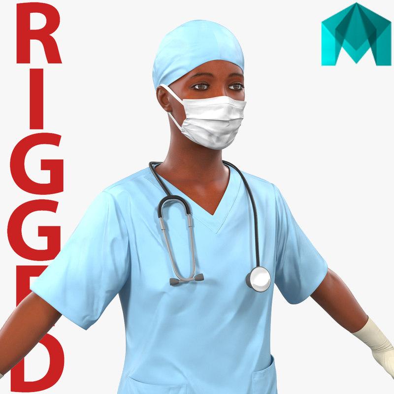 female surgeon african american 3d model