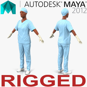 female surgeon african american 3d model
