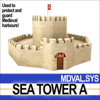medieval sea tower 3d model