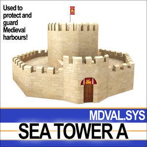 medieval sea tower 3d model