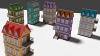3d low-poly cartoon houses model