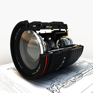 lens section 3d obj