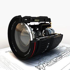 lens section 3d obj