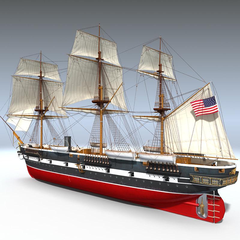 3d sail steam frigate