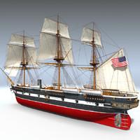 3d model sail steam frigate