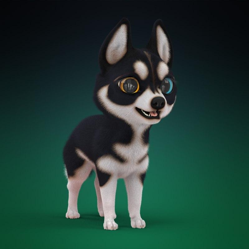 3d model cute cartoon husky