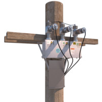3d model power - telephone pole