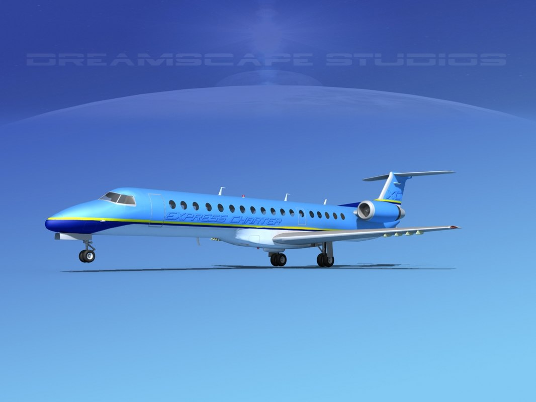 3d model of embraer erj 145 charter