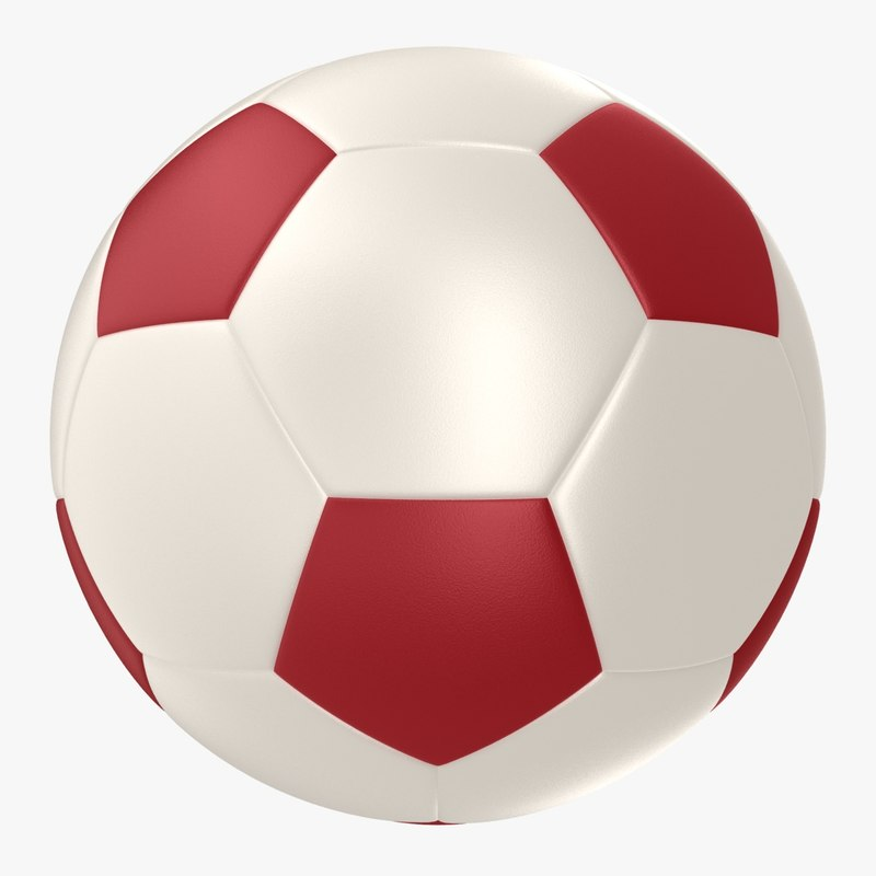 soccer ball red 3d max