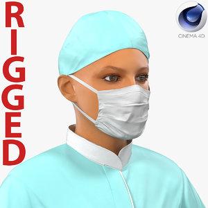 3d model of female surgeon mediterranean rigged