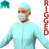 Female Surgeon Mediterranean Rigged for Maya