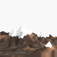 cartoon low poly mountain landscape