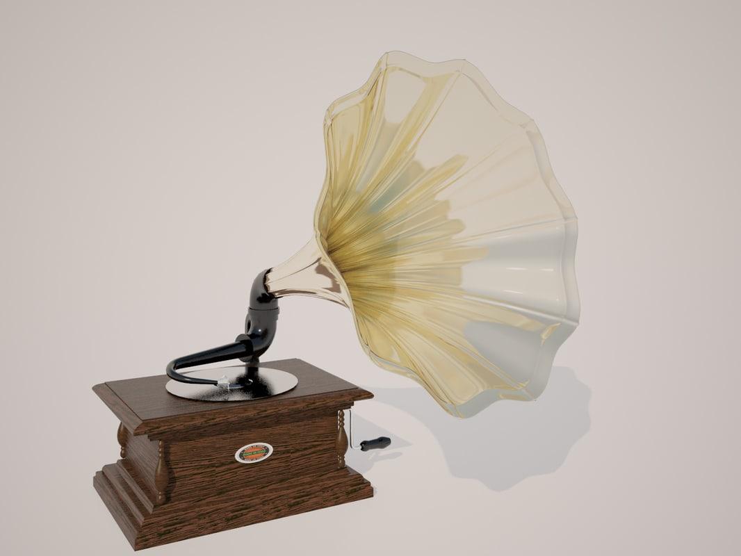 3d max vintage gramophone