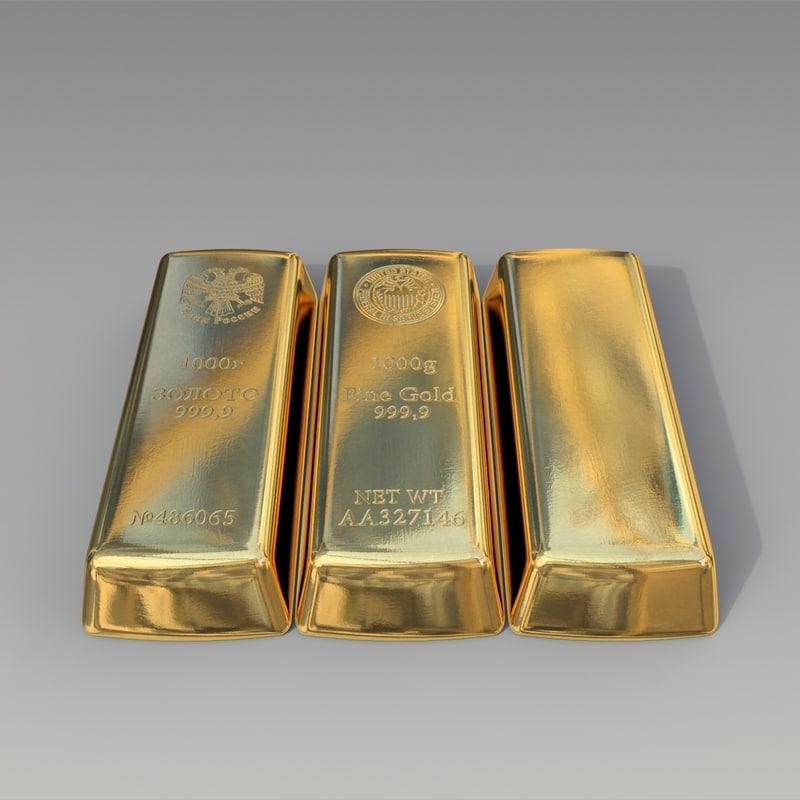 gold pure bullion 3d model
